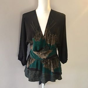 Anthropologie MAPLE Wrap Silk Top Size 6